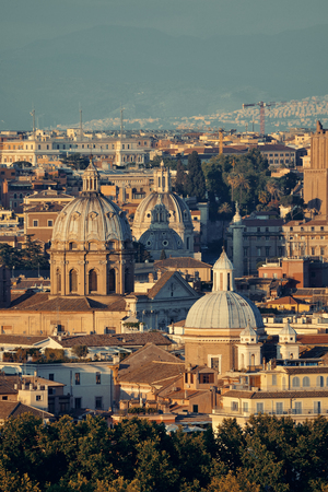 Rome rooftop view with ancient architecture in Italy at sunset moment.  Reklamní fotografie