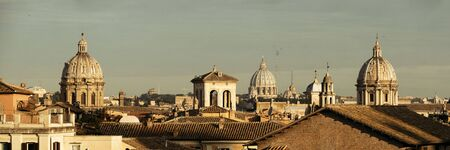 Rooftop panorama view of Rome historical architecture and city skyline. Italy.