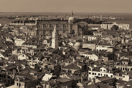 Venice skyline viewed from above at clock tower in St Mark's square. Italy.
