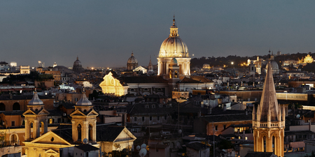 Rome rooftop view with skyline and ancient architecture in Italy at night.  Reklamní fotografie
