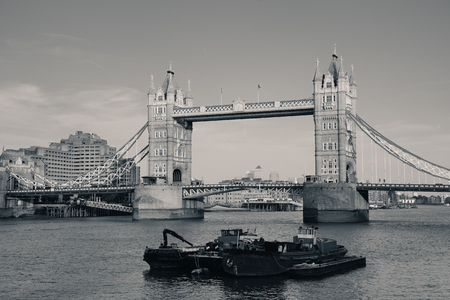 Tower Bridge over Thames River in London. Editorial