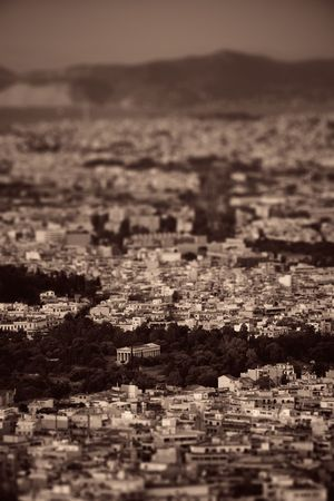 Athens skyline tilt shift viewed from Mt Lykavitos with Acropolis, Greece. Stock Photo