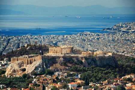 Athens cityscape with Acropolis viewed from above, Greece. 免版税图像