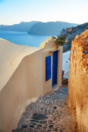 Santorini island ally view with traditional architecture in Greece. Stock Photo