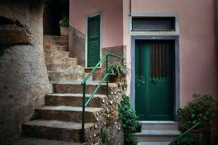 Alley buildings closeup in Vernazza, one of the five villages in Cinque Terre, Italy.