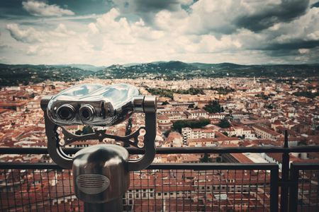 Binocular at top of Duomo Santa Maria Del Fiore in Florence Italy viewed from top of dome. Stock Photo