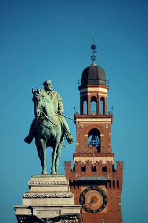 Giuseppe Garibaldi Monument and the bell tower of Sforza Castle in Milan, Italy. Stock fotó