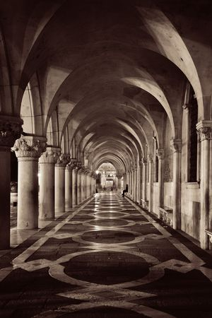 Hallway at Doges Palace in St Marks Square, Venice, Italy.