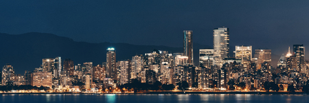Vancouver city skyline at night.