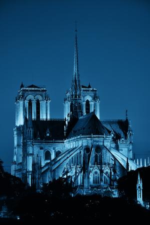 Notre Dame de Paris at dusk as the famous city landmark. Banque d'images