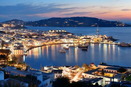 Mykonos bay viewed from above at night. Greece.
