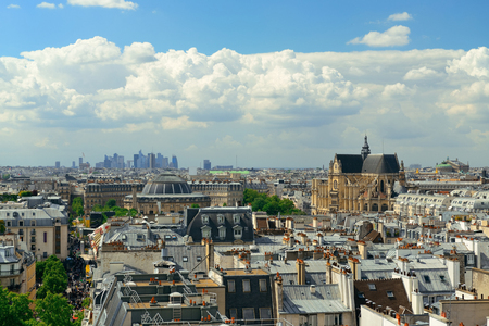 Paris rooftop view with city skyline. Stock Photo