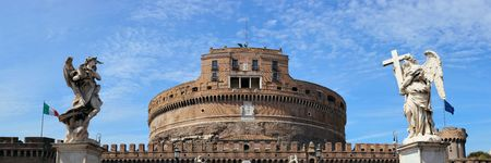 Castel Sant Angelo in Italy Rome panoramic view with angels closeup Reklamní fotografie