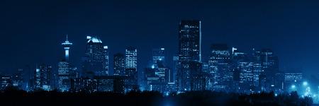 Calgary downtown panorama at night in Alberta, Canada.