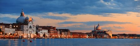 Venice skyline panorama at night with historical architectures in Italy. Stock Photo