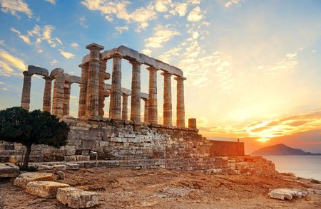 Sunset at Temple of Poseidon near Athens, Greece. Stok Fotoğraf