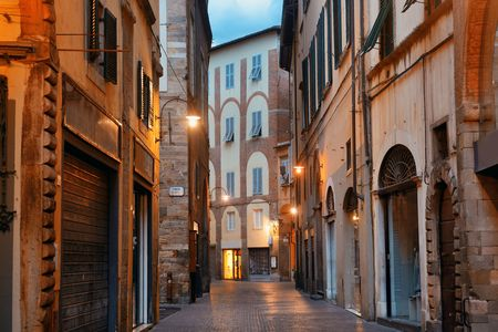 Lucca street view in early morning in Italy