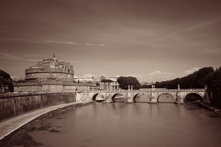Castel Sant Angelo in Italy Rome and bridge over River Tiber Stock Photo
