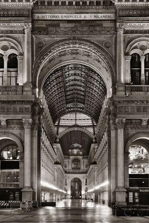 Galleria Vittorio Emanuele II shopping mall interior in Milan black and white, Italy. Stock fotó