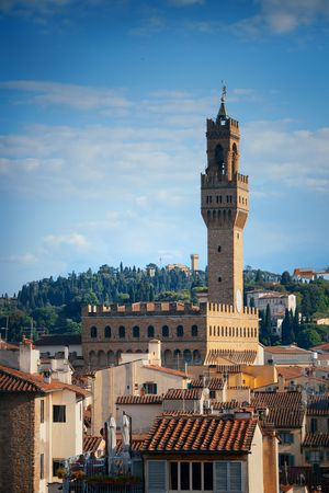 Bell Tower and old buildings in Florence Italy.