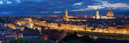 Florence skyline viewed from Piazzale Michelangelo at night panorama Stok Fotoğraf