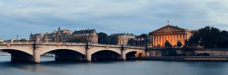 Paris River Seine panorama with Pont de la Concorde and Assemblee Nationale