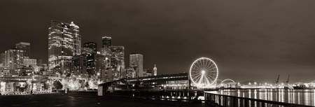 Seattle waterfront view with urban architecture at night