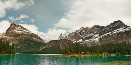 Lake Ohara in Yoho National Park. Stock Photo