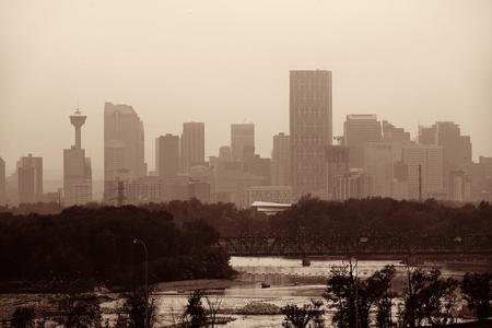 Calgary skyline silhouette in Alberta, Canada. Stock Photo