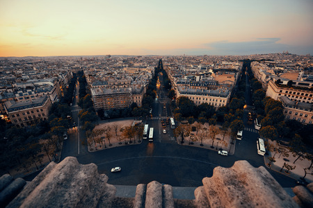 Paris rooftop view of the city street in France. Stock Photo
