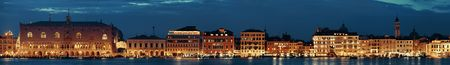 Venice skyline at night with historical architectures panorama in Italy.
