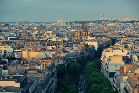 Paris rooftop view of the city skyline in France. Stock Photo