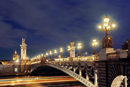 Paris River Seine and Alexandre III Bridge in evening  Фото со стока