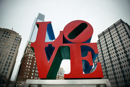PHILADELPHIA, PENNSYLVANIA - MAR 26: Love Park in city center with buildings on March 26, 2015 in Philadelphia. It is the largest city in Pennsylvania and the fifth in the United States. Editorial