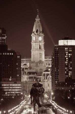 George Washington statue and City Hall at night in Philadelphia Stock Photo