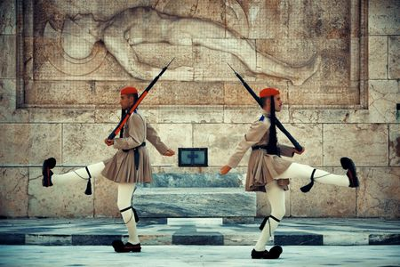ATHENS - SEP 26: Changing the Guard ceremony at Syntagma Square on September 26, 2016 in Athens, Greece. It is one of the military tradition and tourism attraction in the city. Editorial