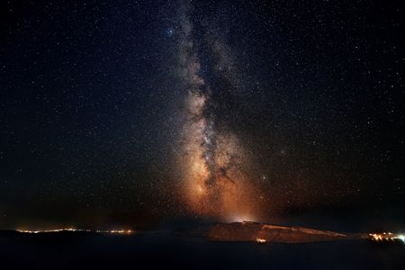 Santorini island with milkyway at night in Greece. Archivio Fotografico - 105802952