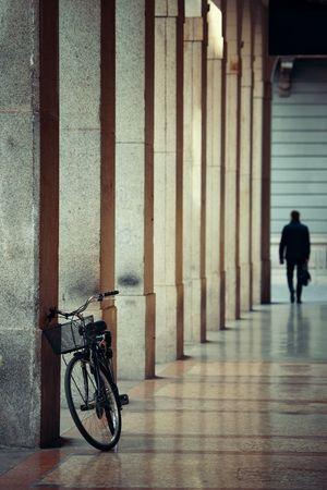 Bike in hallway in Milan, Italy. Stock Photo