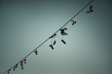 Shoes tied to power cable in Prague Czech Republic