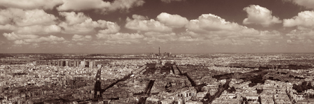 Paris rooftop view panorama with Eiffel Tower and city skyline.