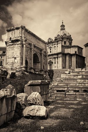 Rome Forum with ruins of historical buildings. Italy. Stock Photo