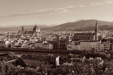 City skyline in Florence rooftop view in Italy black and white