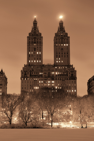 Central Park winter at night with skyscrapers in midtown Manhattan New York City Stok Fotoğraf