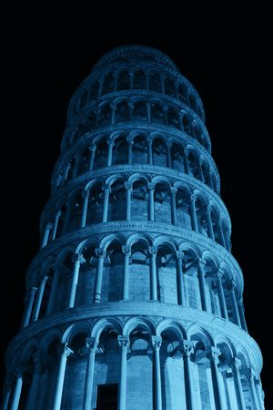 Leaning tower closeup view at night in Pisa, Italy as the worldwide known landmark.