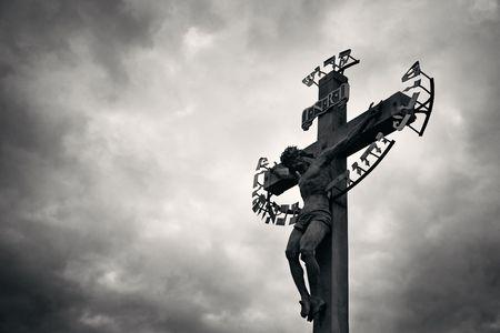 Statue closeup in Charles Bridge in Prague Czech Republic 写真素材