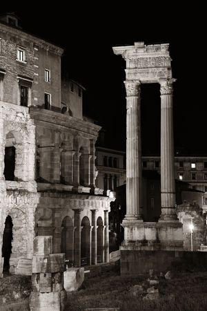 Marcello's Theatre with historical ruins at night in Rome, Italy