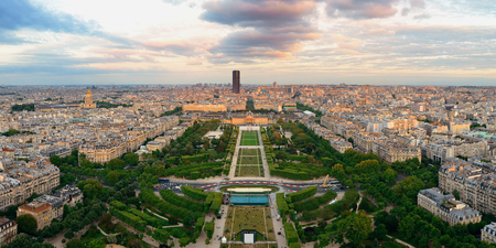 Paris city skyline rooftop view at sunset, France. Stock Photo