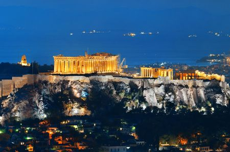 Acropolis historical ruins at night viewed from mountain, Greece