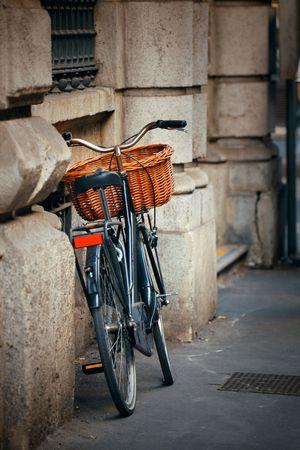 Bike park in street in Milan, Italy.