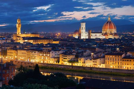 Florence Cathedral with city skyline viewed from Piazzale Michelangelo at night